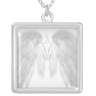 ANGEL WINGS White Monogram Silver Plated Necklace