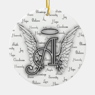 Angel Wings with Positive Words Monogram A Ceramic Ornament