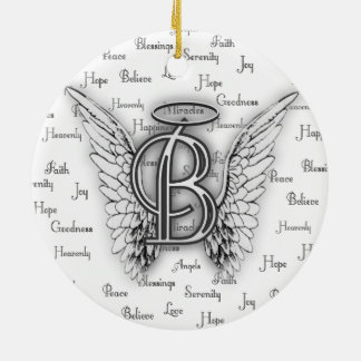 Angel Wings with Positive Words Monogram B Ceramic Ornament