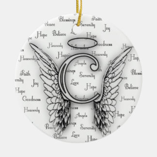 Angel Wings with Positive Words Monogram C Ceramic Ornament