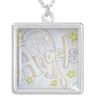Angel Wings Word Painting Silver Charm Necklace