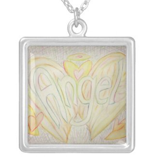 Angel Wings Word Painting Silver Necklace Pendant