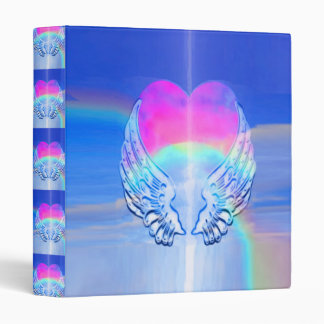 Angel Wings Wrapped Around a Heart 3 Ring Binder