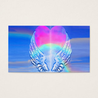 Angel Wings Wrapped Around a Heart Business Card