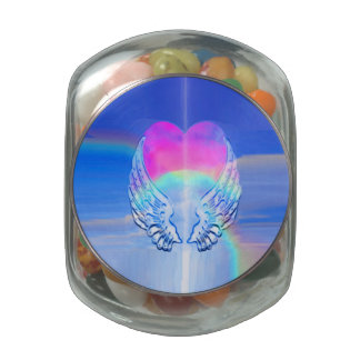 Angel Wings Wrapped Around a Heart Glass Candy Jar