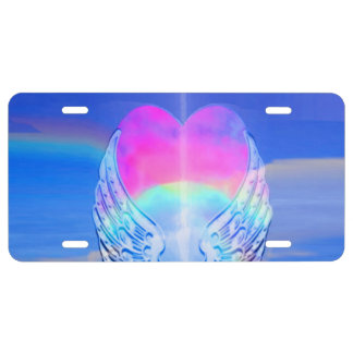 Angel Wings Wrapped Around a Heart License Plate