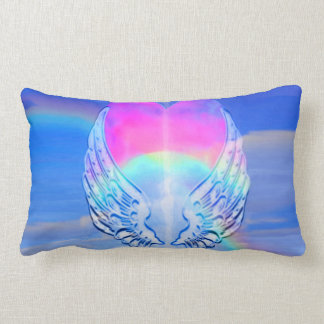 Angel Wings Wrapped Around a Heart Lumbar Pillow