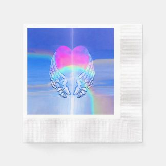 Angel Wings Wrapped Around a Heart Napkin