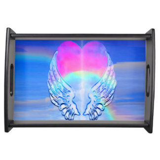 Angel Wings Wrapped Around a Heart Serving Tray