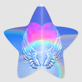 Angel Wings Wrapped Around a Heart Star Sticker