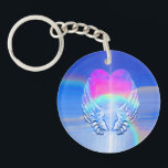 """Angel Wings Wrapped Around a Rainbow Heart Keychain<br><div class=""""desc"""">Angel wings wrapped around an angel heart with a cloud background.</div>"""