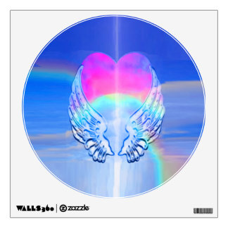 Angel Wings Wrapped Around a Rainbow Heart Wall Sticker