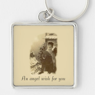 Angel Wish Silver-Colored Square Keychain