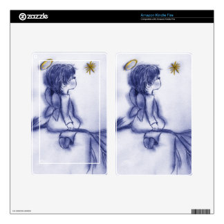 Angel Wishing on a Star - Blue Tint Decals For Kindle Fire