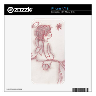 Angel wishing on a star - red and white skins for iPhone 4