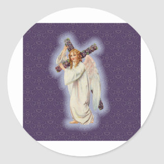 Angel With a Cross with a Glowing Halo Classic Round Sticker