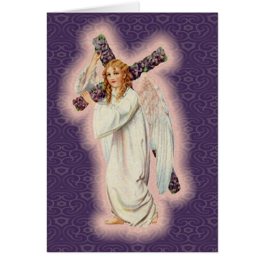 Angel With A Floral Cross and Pink Glowing Halo Card