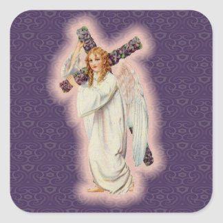 Angel With A Floral Cross and Pink Glowing Halo Square Sticker