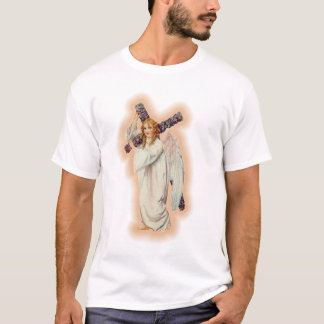 Angel With A Floral Cross and Pink Glowing Halo T-Shirt