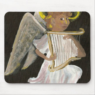 Angel with a harp mouse pad