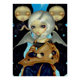 Angel with a Psaltery ART PRINT gothic fairy