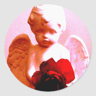 Angel With A Rose Classic Round Sticker