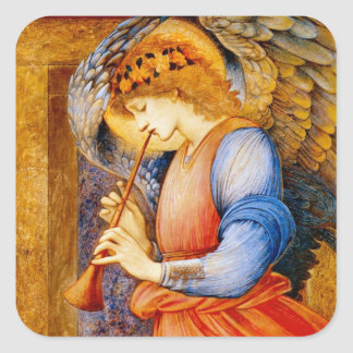 Angel With a Trumpet Square Stickers