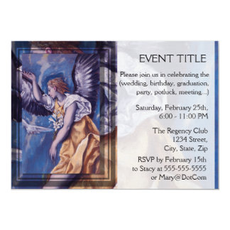 "angel with a white dove 5"" x 7"" invitation card"