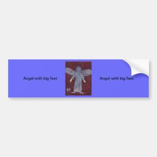 Angel with big feet car bumper sticker