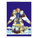 angel with candle, blue blackground greeting card