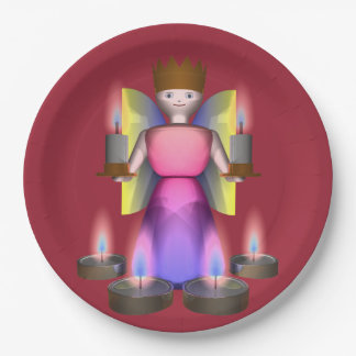 angel with candles paper plate