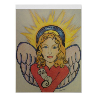 Angel with Cat Original artwork by Carol Zeock Poster