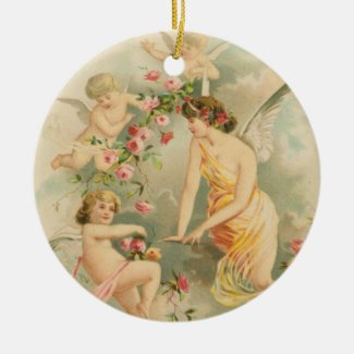 Angel with Cherubs Vintage Style Holiday Ornament