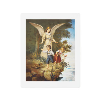 Angel with Children on a Cliff Metal Print