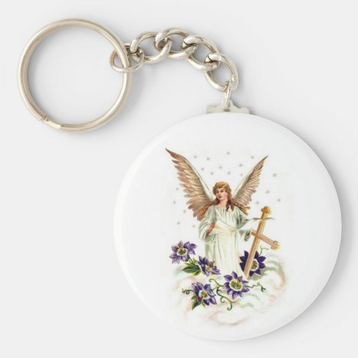 Angel With Cross And Clematis Flower Basic Round Button Keychain