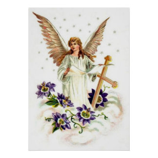 Angel With Cross And Clematis Flower Poster