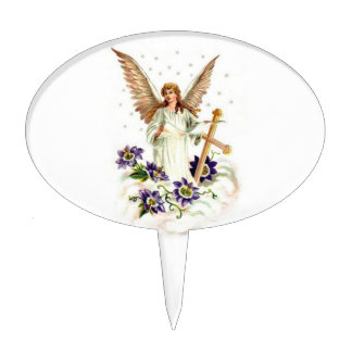 Angel With Cross And Clematis Flowers Cake Topper