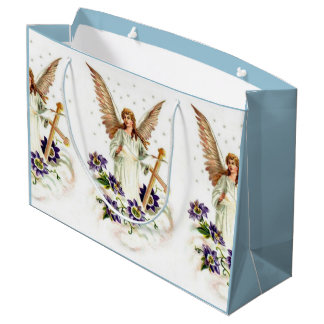 Angel With Cross And Clematis Flowers Large Gift Bag