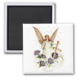 Angel With Cross And Clematis Flowers Magnet