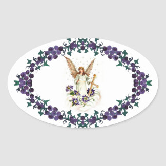 Angel With Cross And Clematis Flowers Oval Sticker