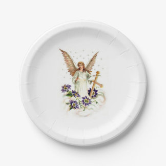 Angel With Cross And Clematis Flowers Paper Plate