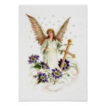 Angel With Cross And Clematis Flowers Poster
