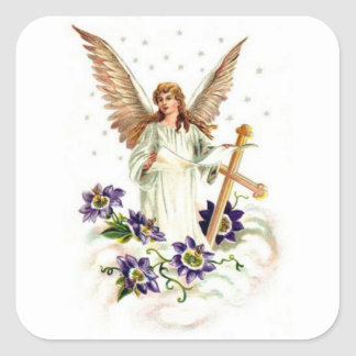 Angel With Cross And Clematis Flowers Square Sticker
