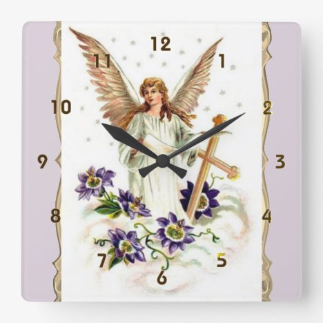 Angel With Cross And Clematis Flowers Square Wall Clock