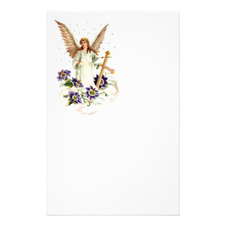 Angel With Cross And Clematis Flowers Stationery