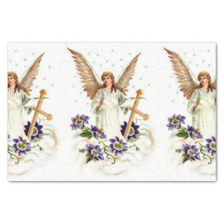 Angel With Cross And Clematis Flowers Tissue Paper