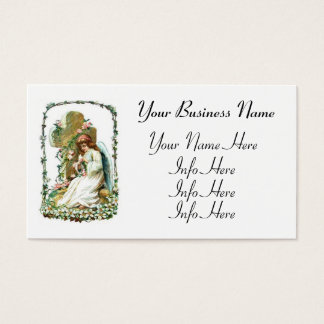 Angel With Cross And Flowers Business Card