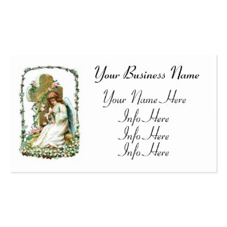 Angel With Cross And Flowers Business Card Templates