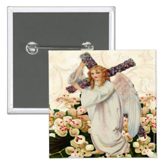 Angel With Cross Button