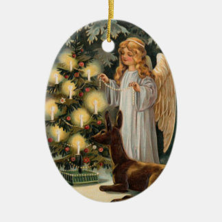 Angel with Deer and Christmas Tree Candles Ceramic Ornament